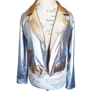 🧚Disney Metallic Gold Silver Girl Moto Jacket